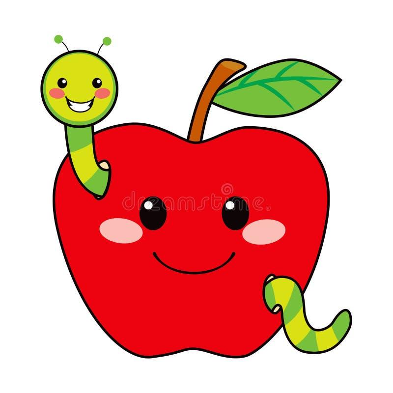 Słodka Jabłczana Dżdżownica royalty ilustracja