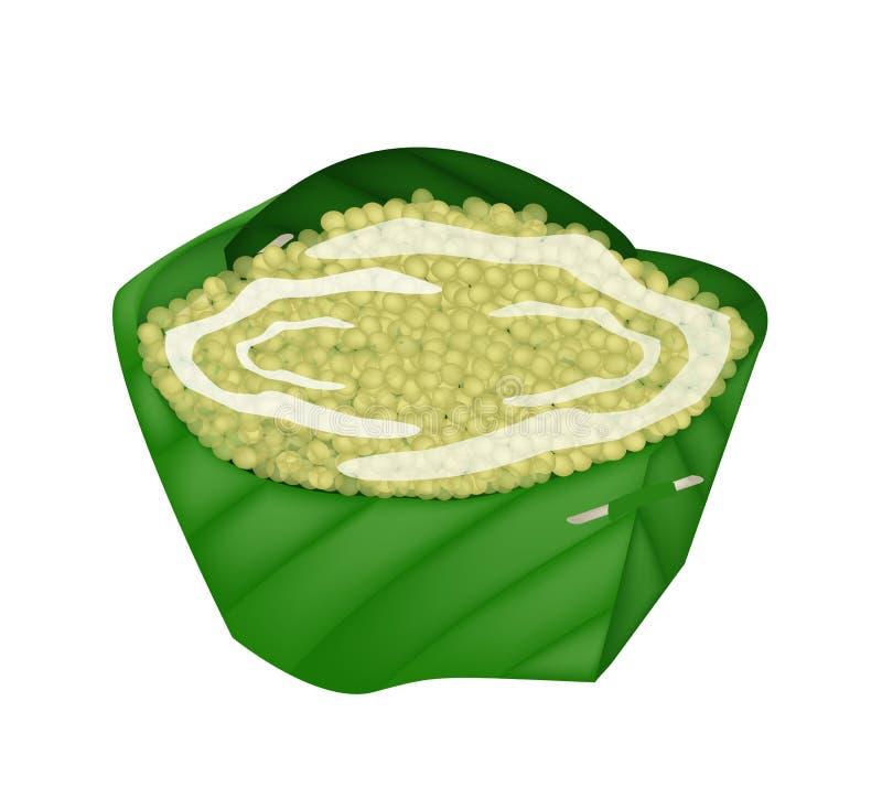Słodka jagła z Kokosowym mlekiem w obliczenie banana liściu ilustracji