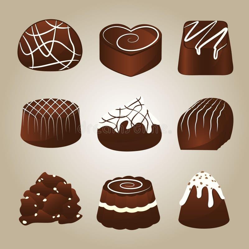 Słodka kolekcja Czekoladowe trufle ilustracja wektor