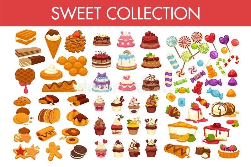 Słodka kolekcja wyśmienicie desery i kolorowi cukierki ilustracja wektor
