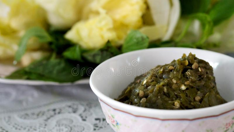 Słodka kraba chili pasty lub Nam Poo Chili pasta obraz stock