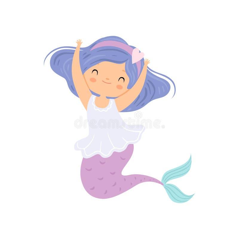 Słodka Mała syrenka, Śliczna Denna Princess charakter wektoru ilustracja ilustracji
