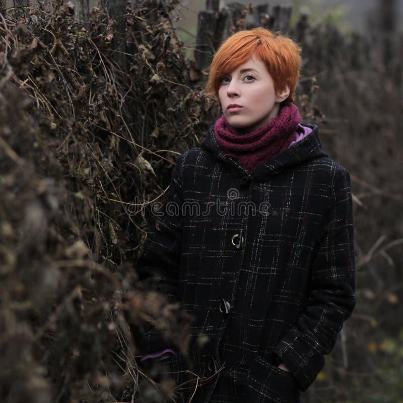 Słodka miedzianowłosa dziewczyna w czarnym żakiecie purpura dziającym szalik i stoi ogrodzeniem przerastającym z winoroślą, blusz zdjęcia stock
