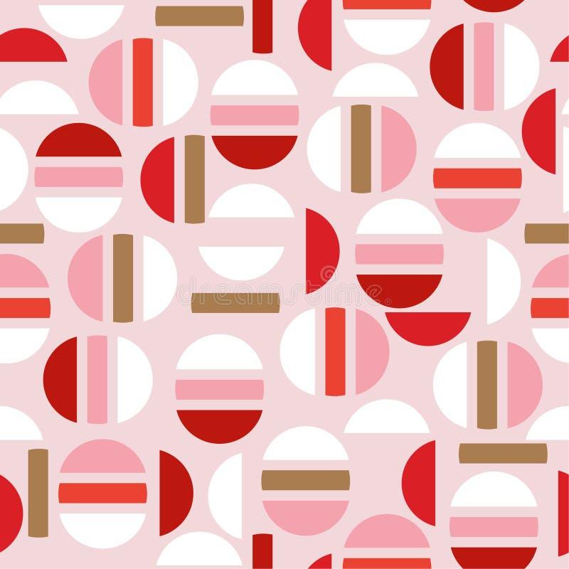 Słodka nowożytna połówka okrąg i geometryczny bezszwowy deseniowy vecto ilustracji