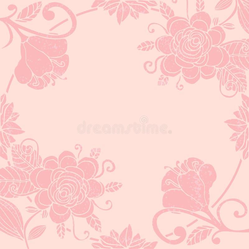 Słodka pastelowa wizytówka kwiatowa z okrągłą cienką ramką Kwiaty fantasy z lokami royalty ilustracja