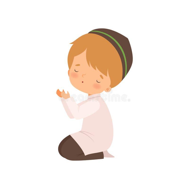 Słodka postać muzułmańska, uklękająca i modląca się ilustracja wektora rysunkowego ilustracji