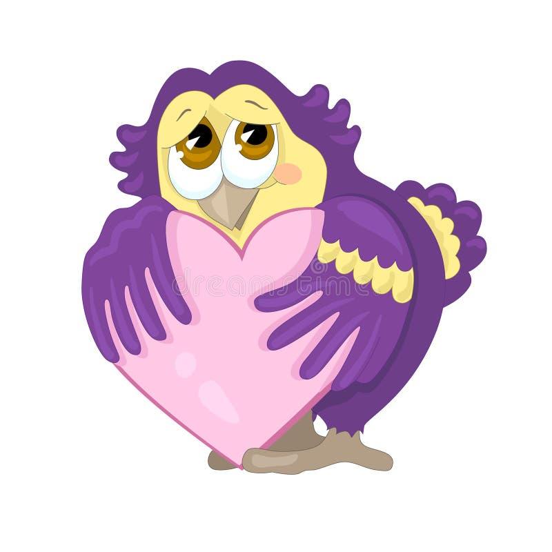 Słodka sowa trzyma jej serce w swój skrzydłach ptaka karty miłości małżeństwa wektor karcianych dzień powitania irysów macierzyst royalty ilustracja