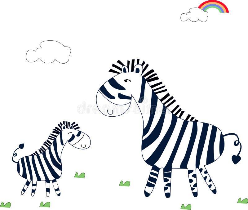 słodka zebra royalty ilustracja
