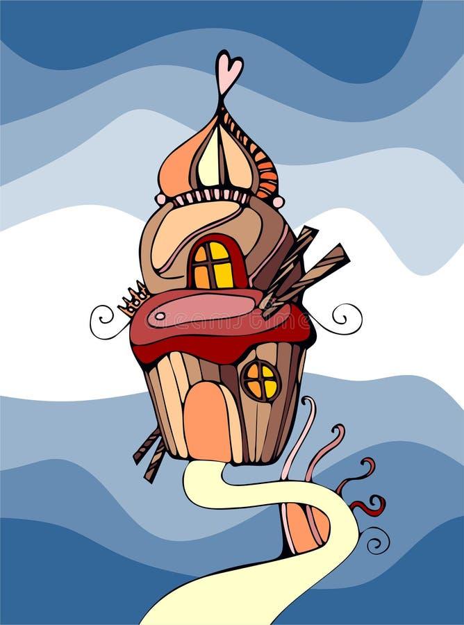Słodki babeczka dom royalty ilustracja