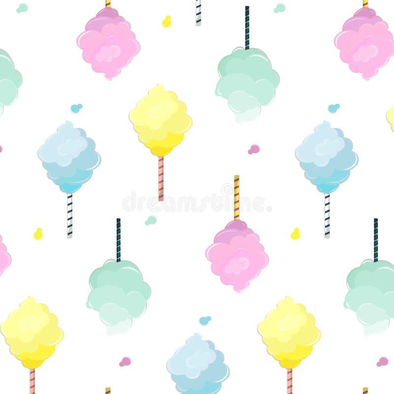 Słodki bawełnianego cukierku wzór Śliczna karmowa tekstura Deserowa dzieciak dekoracja z światłem - menchii, mennicy, błękita i k royalty ilustracja