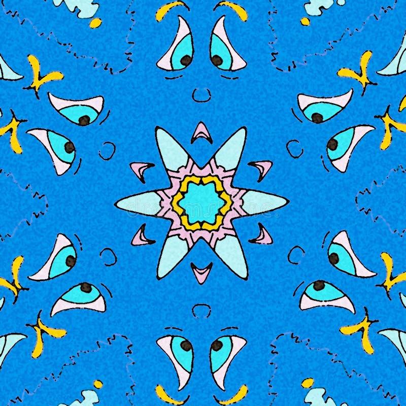 Słodki carttoon zaskakujący niebieska tła royalty ilustracja