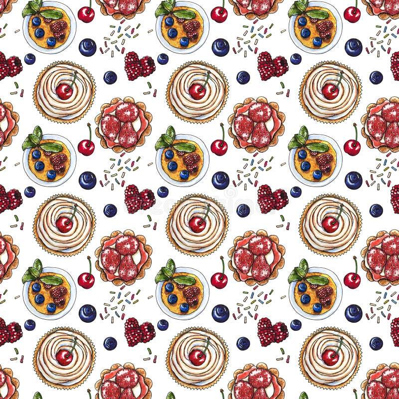 Słodki deser, babeczka, creme brulee z świeżymi jagodami, bezszwowy akwarela wzór ilustracja wektor
