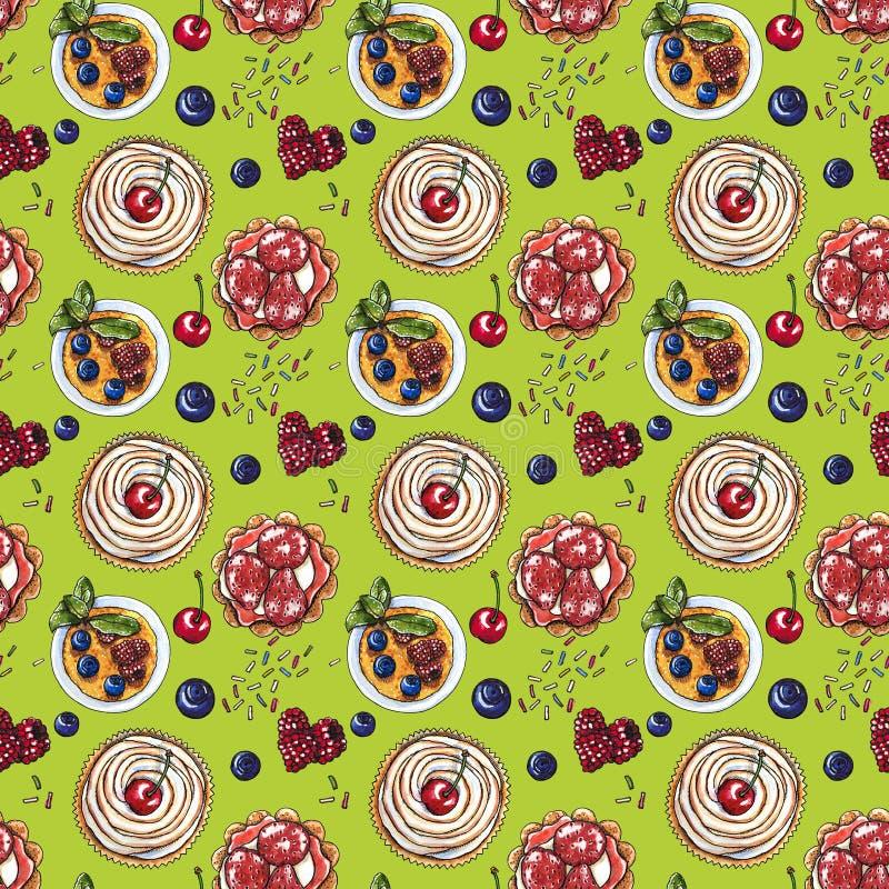 Słodki deser, babeczka, creme brulee z świeżymi jagodami na zieleni, bezszwowy akwarela wzór ilustracja wektor