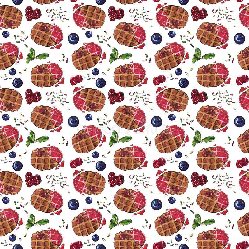 Słodki deser, Belgijscy gofry z świeżymi jagodami na białym, bezszwowym akwarela wzorze, royalty ilustracja