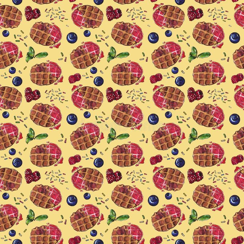 Słodki deser, Belgijscy gofry z świeżymi jagodami na kolorze żółtym, bezszwowy akwarela wzór ilustracji