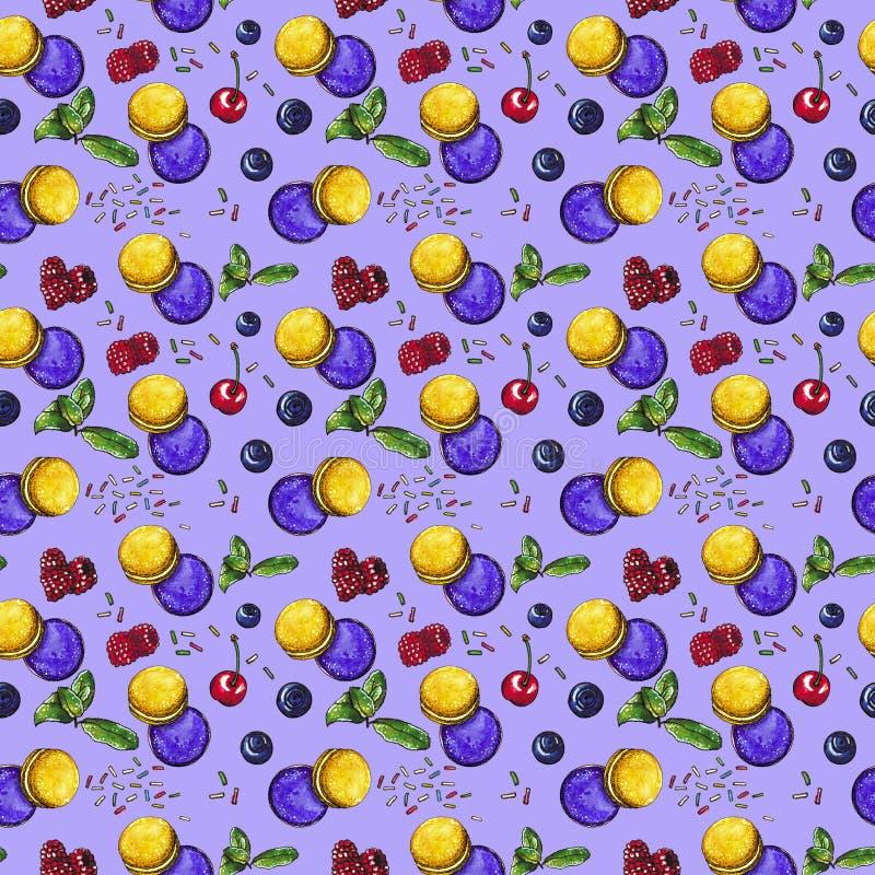 Słodki deser, macaroons z jagodami na purpurach, bezszwowy akwarela wzór ilustracja wektor