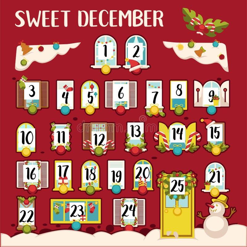 Słodki Grudnia kalendarz z datami i tradycyjną dekoracją ilustracji