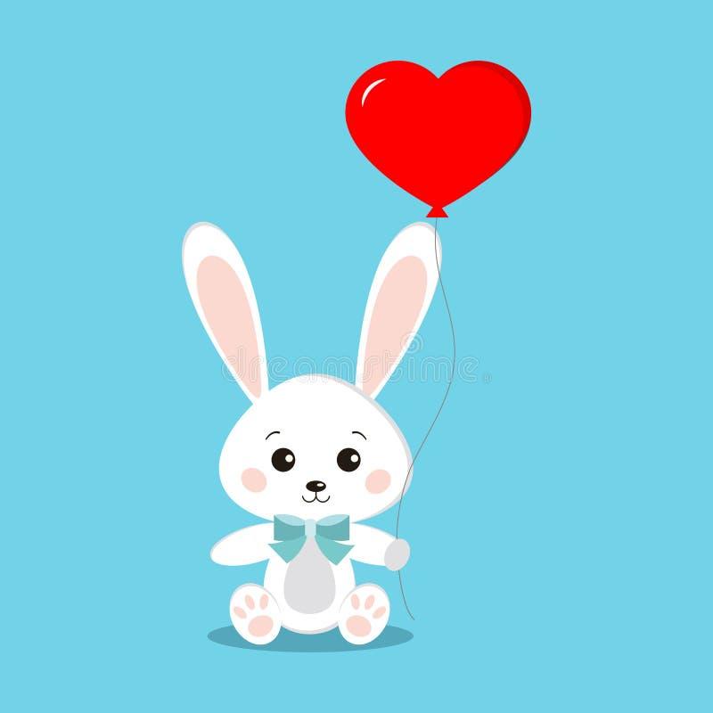 Słodki i śliczny biały królika królik w obsiadanie pozie royalty ilustracja