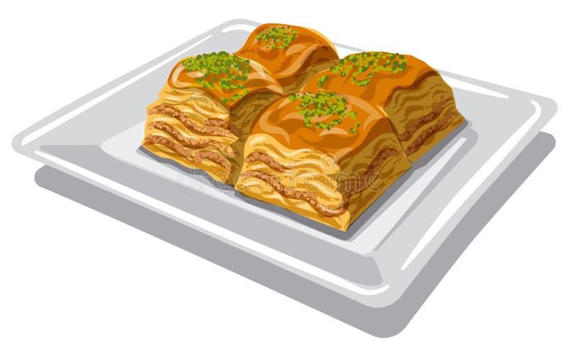 Słodki karmowy baklava royalty ilustracja