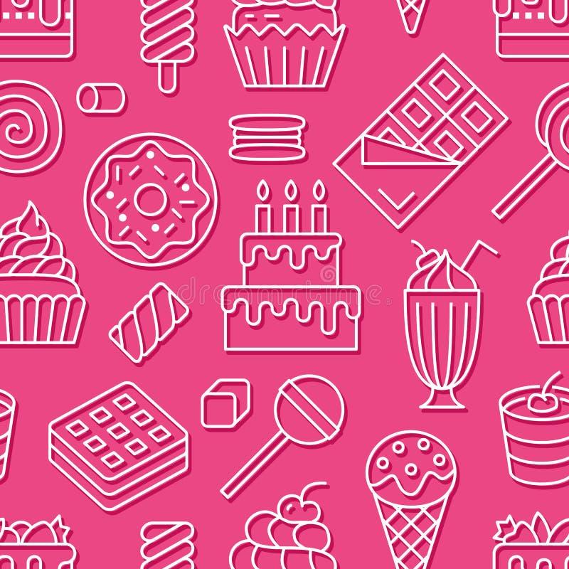 Słodki karmowy bezszwowy wzór z mieszkanie linii ikonami Ciasto wektorowe ilustracje - lizak, czekoladowy bar, milkshake ilustracja wektor