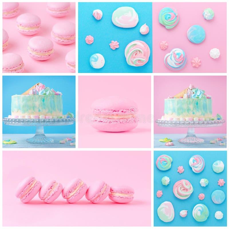 Słodki kolaż z macaroons, tortem i bezą na, menchiach i błękicie zdjęcia stock