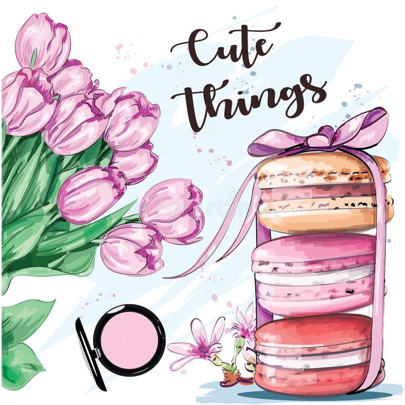 Słodki kolorowy set z francuskimi macaroons i kwiatami nakreślenie ilustracja wektor