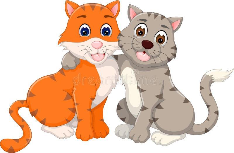Słodki kot pary kreskówki przytulenie z uśmiechem ilustracji