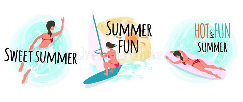 Słodki lato Windsurfing i Pływa kobiety ilustracja wektor