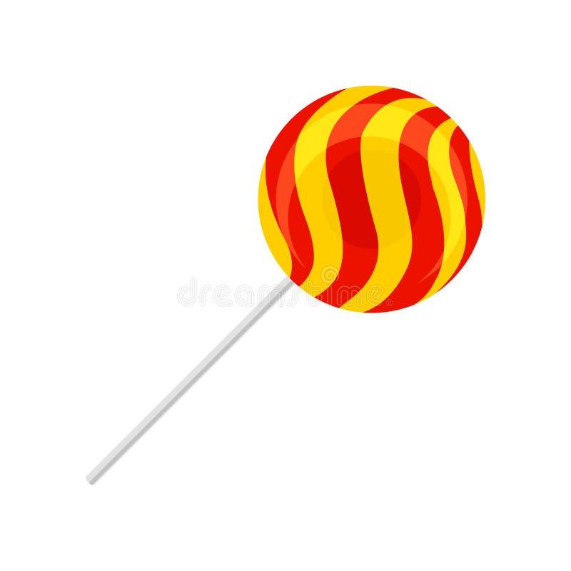 Słodki lizak, round czerwień i żółty cukrowy cukierek na plastikowej kija wektoru ilustracji, ilustracja wektor