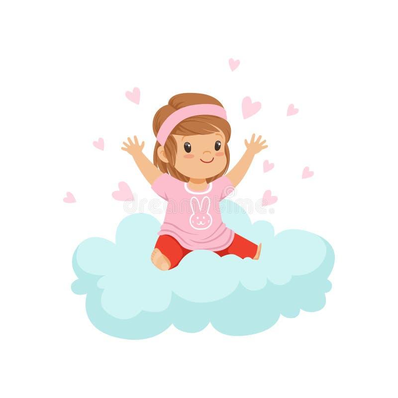 Słodki małej dziewczynki obsiadanie na chmurze otaczającej różowymi sercami, dzieciakami wyobraźnia i sen wektoru ilustracją, royalty ilustracja