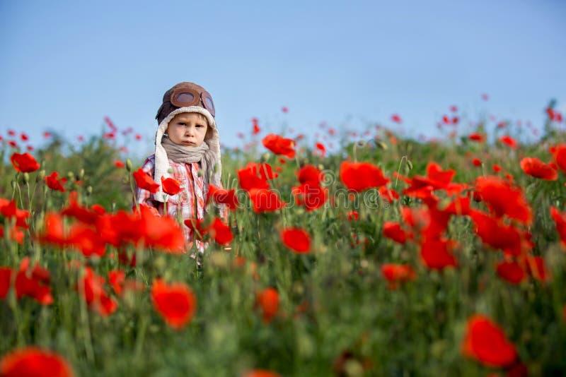 Słodki mały chłopczyk, dziecko bawiące się samolotem w polu maku, piękny słoneczny dzień fotografia stock