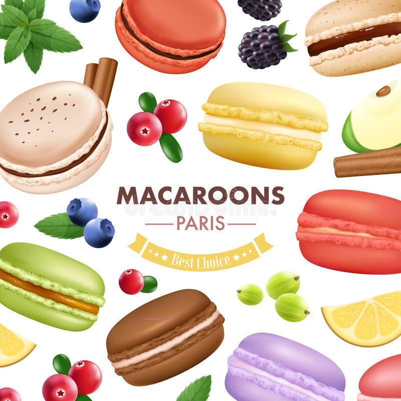 Słodki Macaroon towarów tło ilustracji