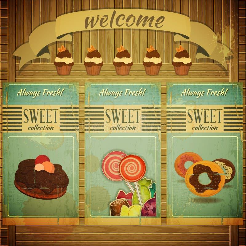 Słodki menu dla ciasteczka ilustracja wektor