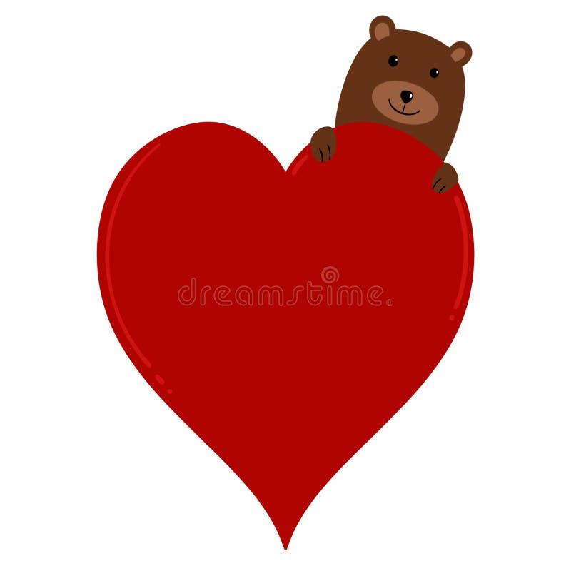 Słodki niedźwiedź brunatny Szturcha Jego głowę Za od miłości serca z przestrzenią Dodawać tekst ilustracja wektor