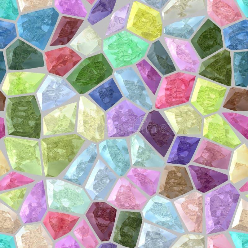 Słodki pastel barwił podłoga mozaiki wzoru marmurowej plastikowej kamienistej tekstury bezszwowego tło z szarości grout - pełny k royalty ilustracja