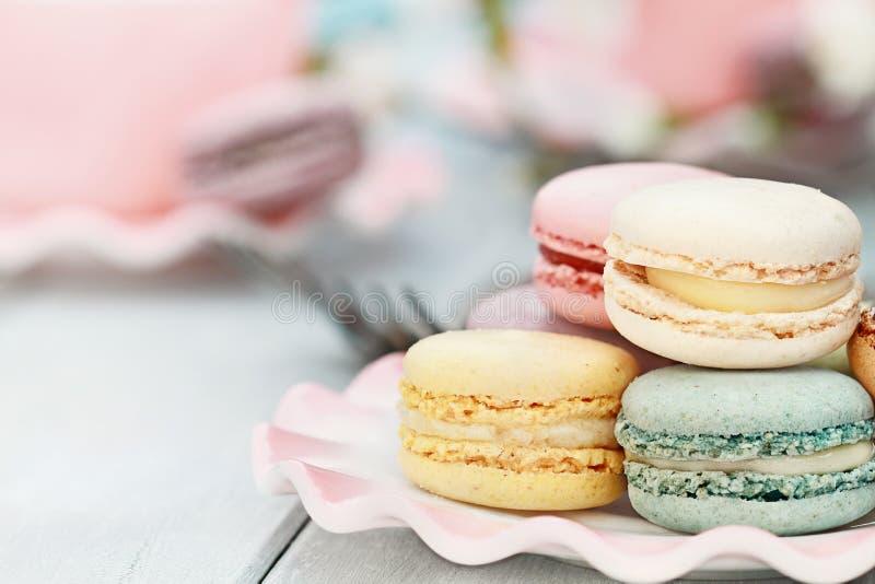 Słodki pastel Barwiony Macarons zdjęcie stock