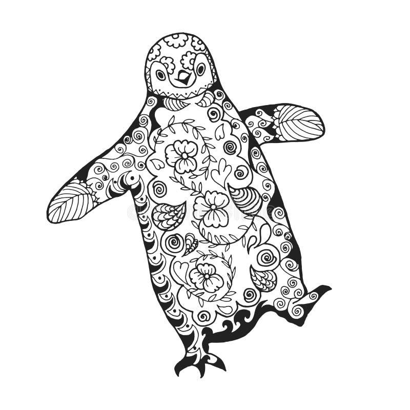 słodki pingwin Dorosła antistress kolorystyki strona royalty ilustracja