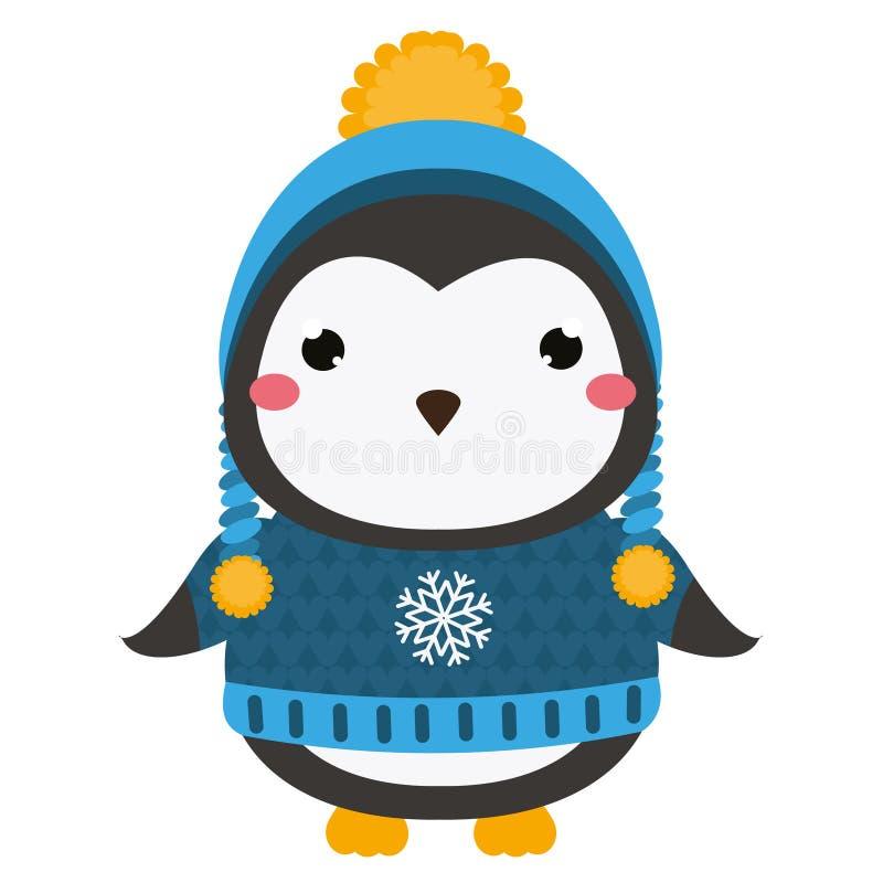 słodki pingwin Kreskówki kawaii zwierzęcia charakter Wektorowa ilustracja dla dzieciaków i dzieci mody royalty ilustracja