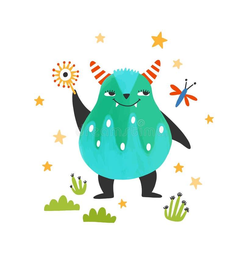 Słodki, przyjacielski potwór, obcy lub bestia Urocza, bajkowa istota z rogami. Fantastyczna postać z kreskówki royalty ilustracja