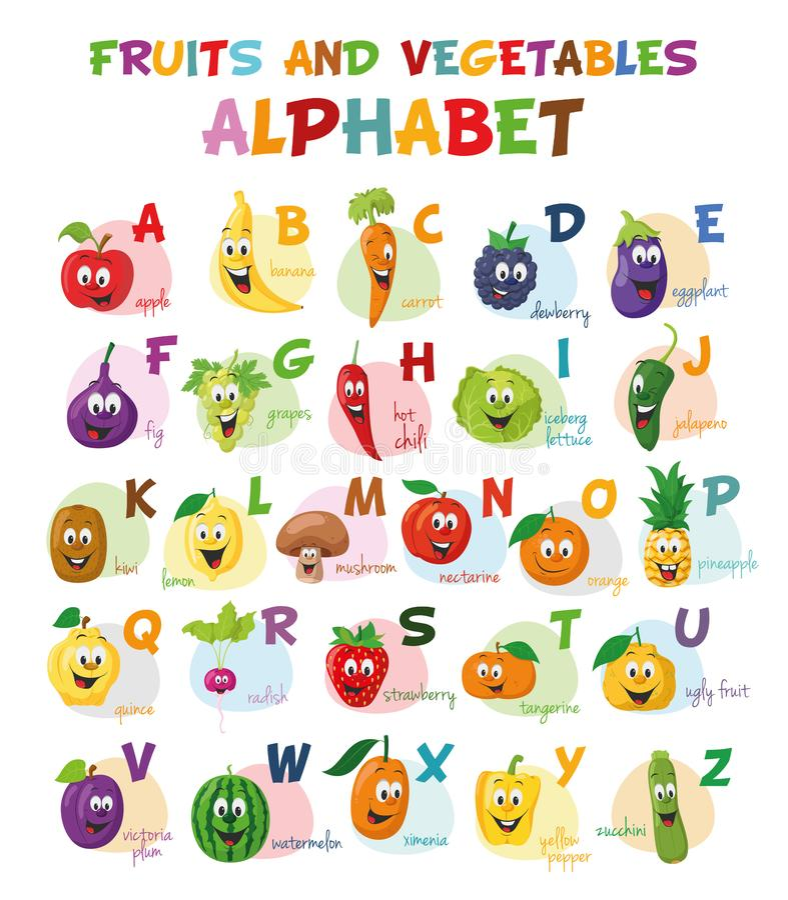 Słodki rysunek ilustruje alfabet z zabawnymi postaciami z owoców i warzyw Alfabet angielski ilustracji