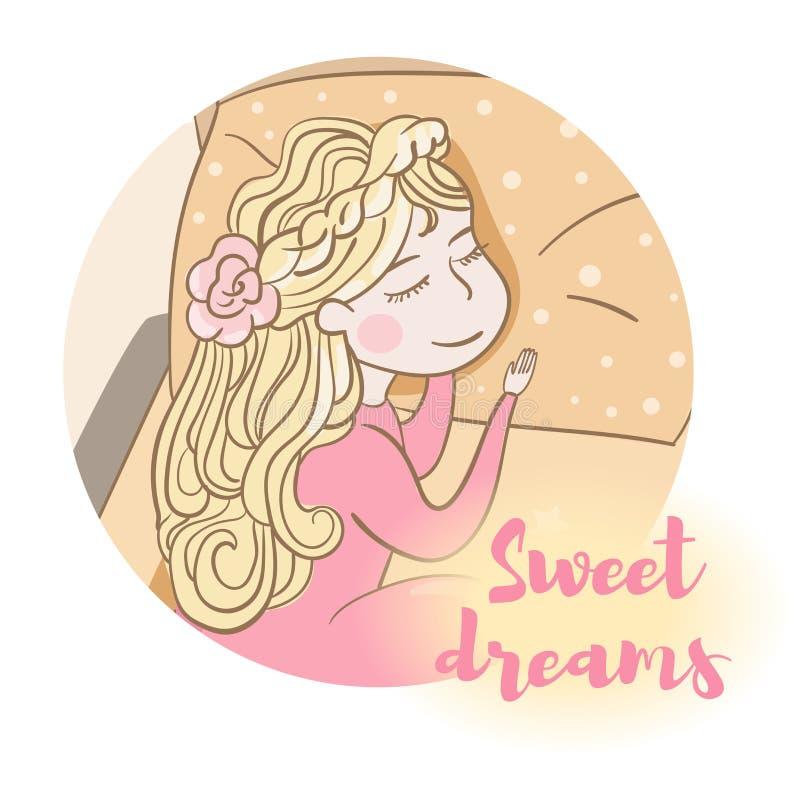 słodki sen dziecka butelki dziewczyna royalty ilustracja