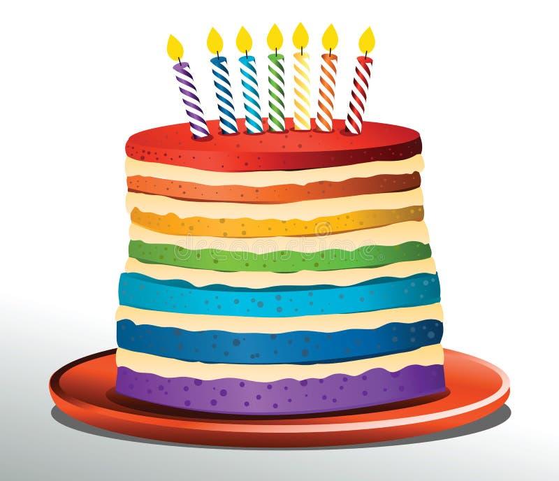 Słodki urodzinowy tort w tęcza kolorach ilustracja wektor