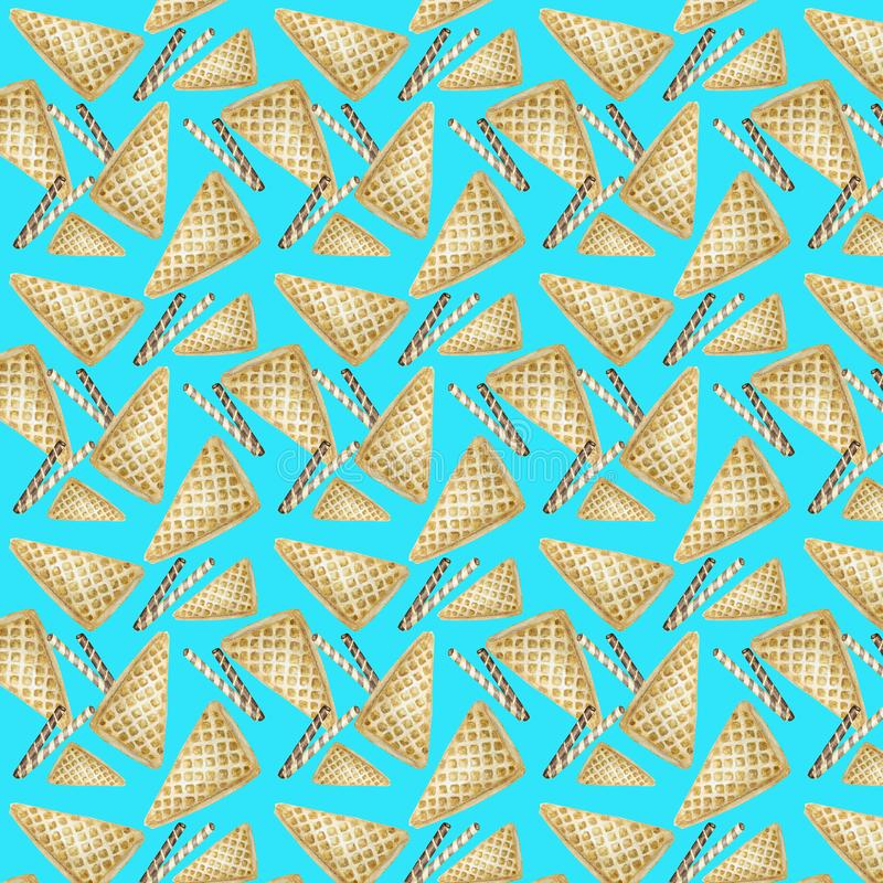 Słodki wyśmienicie akwarela wzór z goframi Akwareli r?ka rysuj?ca ilustracja Odosobneni elementy na jaskrawym zdjęcia stock
