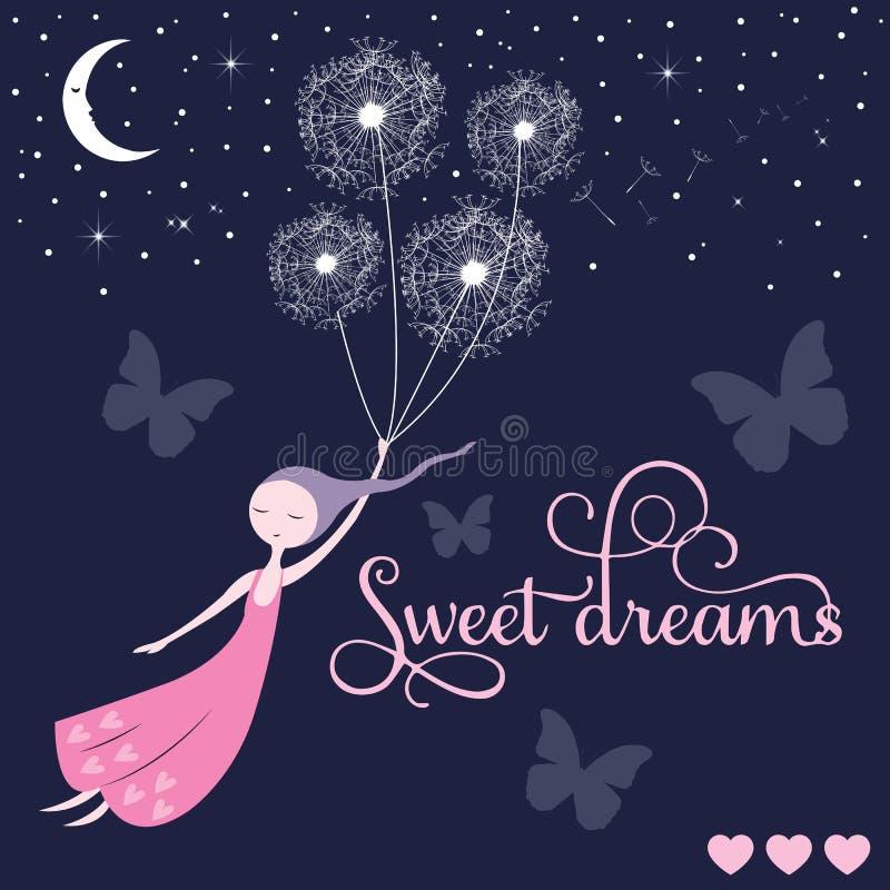 Słodkich sen dziewczyny wektor ilustracji