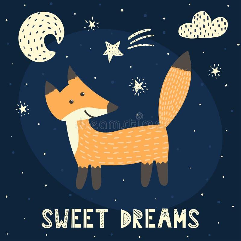 Słodkich sen karta z ślicznym lisem royalty ilustracja