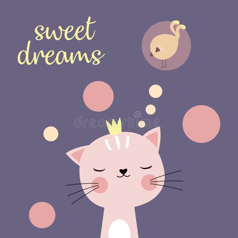 Słodkich sen kot ilustracja wektor