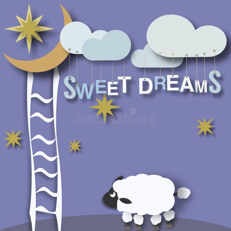 Słodkich sen mali dzieci plakatowi royalty ilustracja