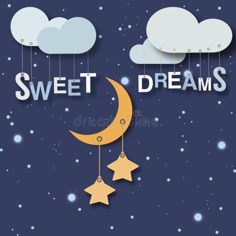 Słodkich sen mali dzieci plakatowi ilustracja wektor