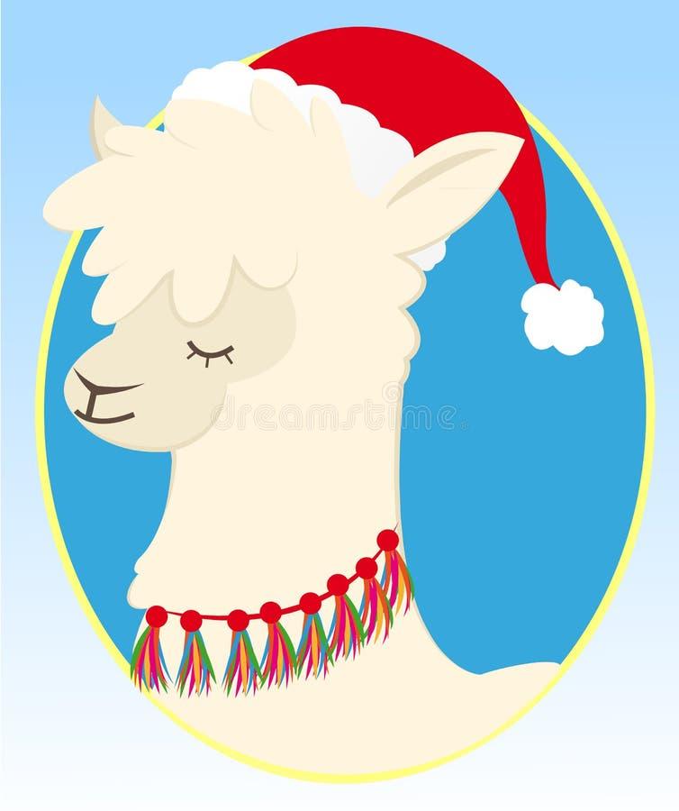 Słodkie święta Llama z kapeluszem świątecznym obrazy royalty free