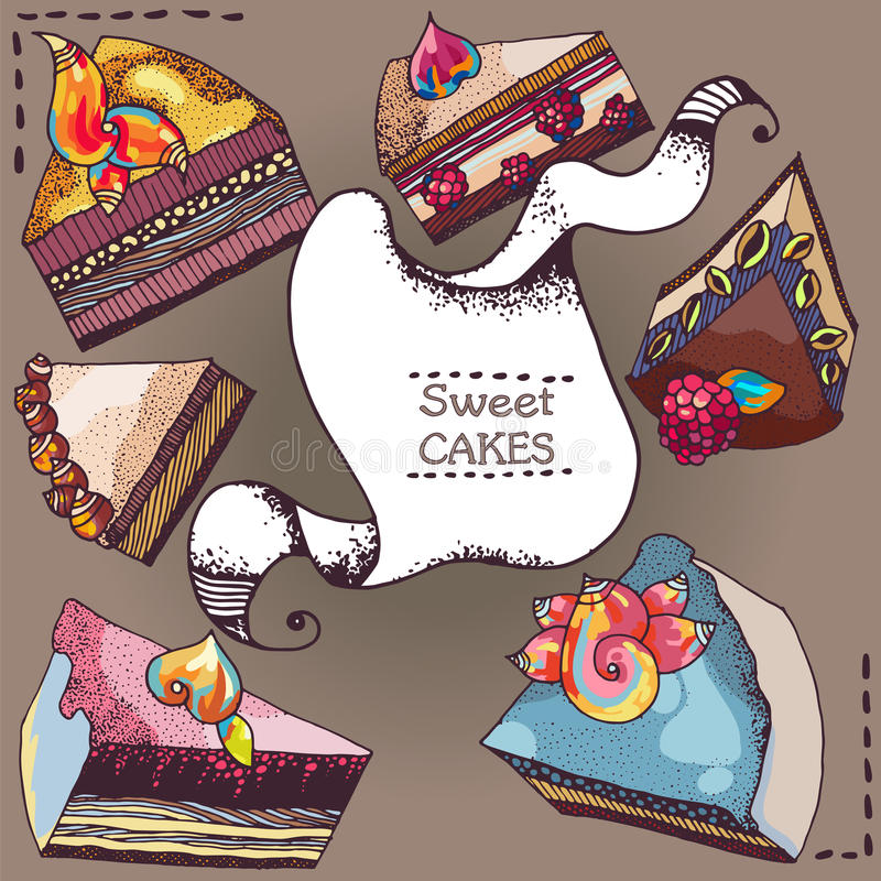 słodkie ciasto royalty ilustracja
